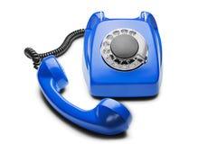 Landline blauwe telefoon op een geïsoleerde witte achtergrond Stock Fotografie