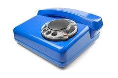 Landline blauwe telefoon op geïsoleerde achtergrond met een schaduw Royalty-vrije Stock Afbeelding