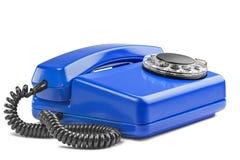 Landline blauwe telefoon op geïsoleerde achtergrond met een schaduw Royalty-vrije Stock Afbeeldingen