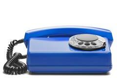 Landline blauwe telefoon op geïsoleerde achtergrond met een schaduw Royalty-vrije Stock Foto's