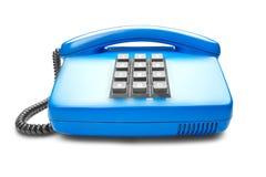 Landline blauwe telefoon op geïsoleerde witte achtergrond met schaduw Stock Afbeelding