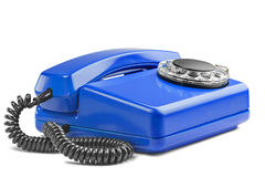 Landline blue phone on isolated background with a shadow Royalty Free Stock Images