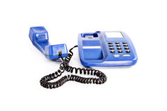 Landline phone. With color of blue fix at home Royalty Free Stock Photos