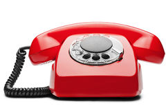 Landline red  phone on a isolated white background. Landline red  phone on isolated white background Royalty Free Stock Images