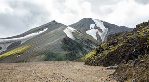 Landmannalaugar难以相信的风景在冰岛 免版税库存照片