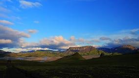 Landmannalaugar, Исландия, заход солнца стоковые изображения rf