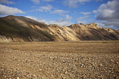 Landmannalaugar. Is a region near the volcano Hekla in the southern section of Iceland's highlands. The area is a popular tourist destination and hiking hub Royalty Free Stock Photos