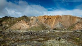 Landmannalaugar - Amazing Landscape in Iceland. Multicolored rhyolite mountains of amazing Landscape Landmannalaugar in Iceland stock photo