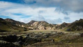 Landmannalaugar - Amazing Landscape in Iceland. Multicolored rhyolite mountains of amazing Landscape Landmannalaugar in Iceland stock images