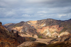 Landmannalaugar. Amazing multicoloured mountains near Brennisteinsalda at the start of the Laugavegur hike in the southern highlan Royalty Free Stock Images