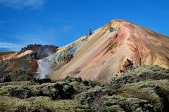 Landmannalaugar a coloré des montagnes d'arc-en-ciel, Islande Photos stock
