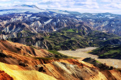 Landmannalaugar colorful mountains landscape view Stock Image