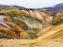 Landmannalaugar colorful rainbow mountains Royalty Free Stock Images