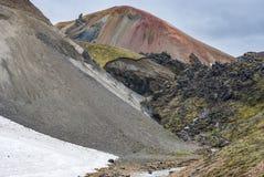 Landmannalaugar färgrika isländska berg Royaltyfri Foto
