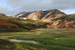 Landmannalaugar. Hiking in Icelandic Highlands during the  summer Stock Images