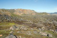 Landmannalaugar hills great panorama, Iceland Royalty Free Stock Image