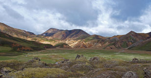 Landmannalaugar, Iceland. First day of the Laugavegur hike in Iceland Royalty Free Stock Photography