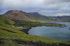 Landmannalaugar. Lake and moss-covered volcanic mountains. Landmannalaugar. Iceland Royalty Free Stock Images