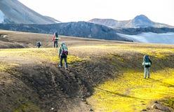 努力去做道路在兰德曼纳劳卡,Laugavegur艰苦跋涉,冰岛的小组徒步旅行者 免版税图库摄影