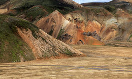 Landmannalaugar. Rainbow mountains near Landmannalaugar in Iceland Stock Image