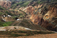 Landmannalaugar. Rainbow mountains near Landmannalaugar in Iceland Royalty Free Stock Images