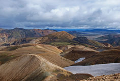 Landmannalaugar rhyolite hills, Iceland. First day of the Laugavegur hike in Iceland Royalty Free Stock Images