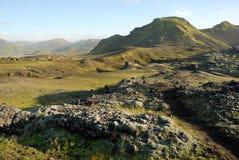 Landmannalaugar wzgórza wielka panorama, Iceland fotografia royalty free
