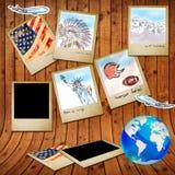 Landmark of america in photo frame Stock Images