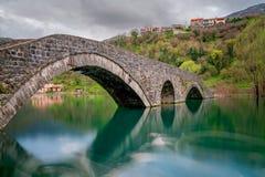 Landmark arched bridge in Rijeka Crnojevica stock image