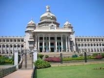 Landmark Architecture in Bangalore. A closeup view of the famous Vidhana Soudha - the Legislature and Secretariat building - in Bangalore city, Karnataka State Royalty Free Stock Images