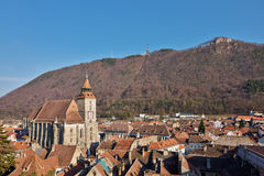 Landmark attraction in Brasov, Romania. Old town. The catholic Black Church Stock Image