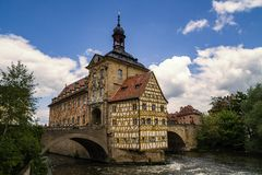 Landmark of Bamberg Upper bridge and Old Town Hall townhall, Ger Royalty Free Stock Photos