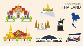 Landmark of Bangkok, Thailand. Vector concept Thailand Landmark Flat Icons Design Stock Photography