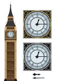 Landmark Big Ben and the clock. Vector illustration on isolated white background Stock Image