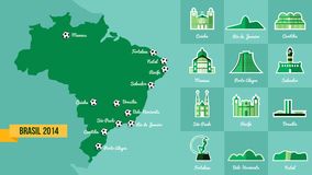 Landmark Brazil map silhouette icon Royalty Free Stock Images