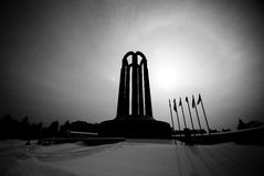 Film noir mausolaeum. Silhouette of the tomb of the unknown soldier in Romania Royalty Free Stock Image