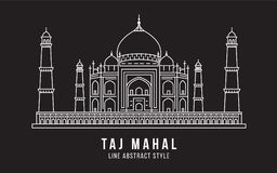 Landmark Building Line art Vector Illustration design - Taj Mahal india Stock Photo