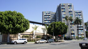 Landmark Building. This modern building planted with trees on the side streets located on Atlantic Avenue and Willow in Long Beach, CA Stock Image