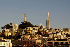 Landmark buildings Coit Tower & Transamerica Pyramid, San Francisco, USA Stock Images