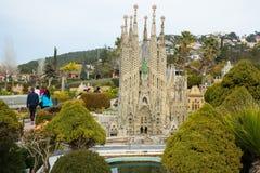 Landmark buildings displayed in scale model replica of Catalonia Royalty Free Stock Image