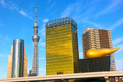 Landmark buildings line along Sumida River in Asakusa in Tokyo, Japan. Stock Image