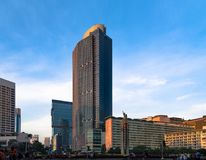 Landmark in Central Jakarta, Bunderan HI. Famous landmark in cetral Jakarta at Bunderan HI and welcoming statue, near Grand Indonesia shopping center. Photo Royalty Free Stock Photo