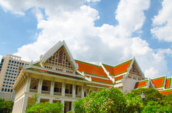 Landmark of Chulalongkorn University. First University of Thailand with Thai Traditional style building royalty free stock image