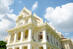 Landmark of Chulalongkorn University , first University of Thailand with Thai Traditional style building royalty free stock image