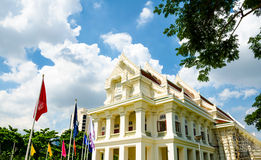 Landmark of Chulalongkorn University , first University of Thail. And with Thai Traditional style building with Royal symbol flags in many color Stock Photo