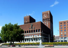 Landmark city hall in oslo,norway. Red brick city hall in oslo, norway royalty free stock photos