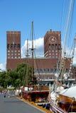 Landmark city hall in oslo,norway. Red brick city hall and harbour in oslo, norway stock photography