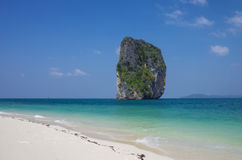 Landmark cliff and beach at Poda island, Krabi Province, Andaman Stock Photography