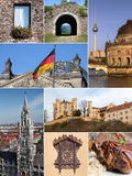Landmark Collage of Germany. With famous buildings, palaces, architecture, food specialty and handcrafts Royalty Free Stock Photography