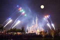Shanghai Disney castle firework, China royalty free stock photos